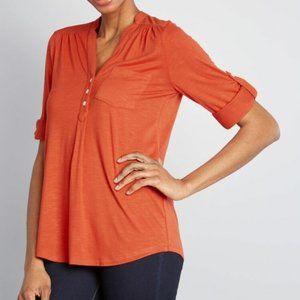 MODCLOTH Burnt Orange Tabbed Sleeve Top L
